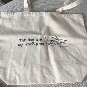 NWOT canvas teacher tote dog ate my lesson plans, used for sale